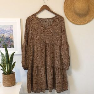 Brown and Black Printed Swing Dress V Neck Balloon Sleeves Size Large